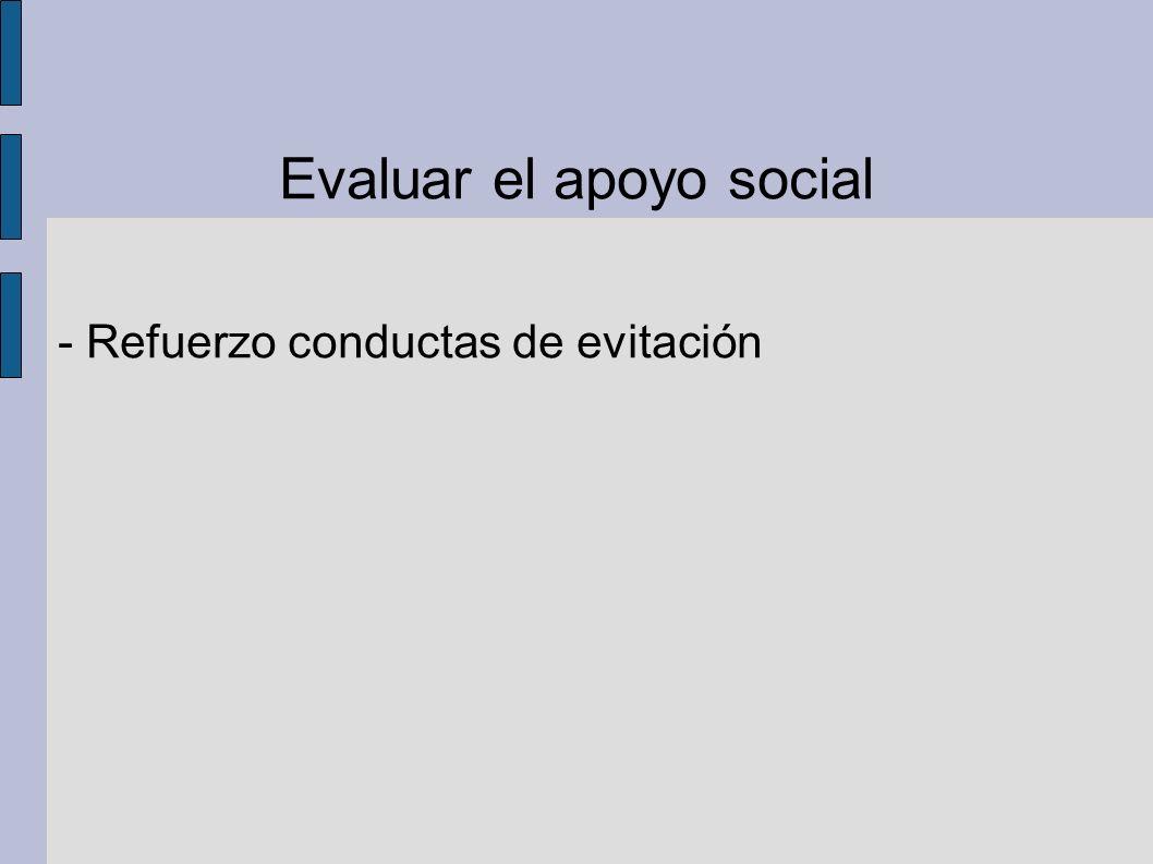 Evaluar el apoyo social - Refuerzo conductas de evitación