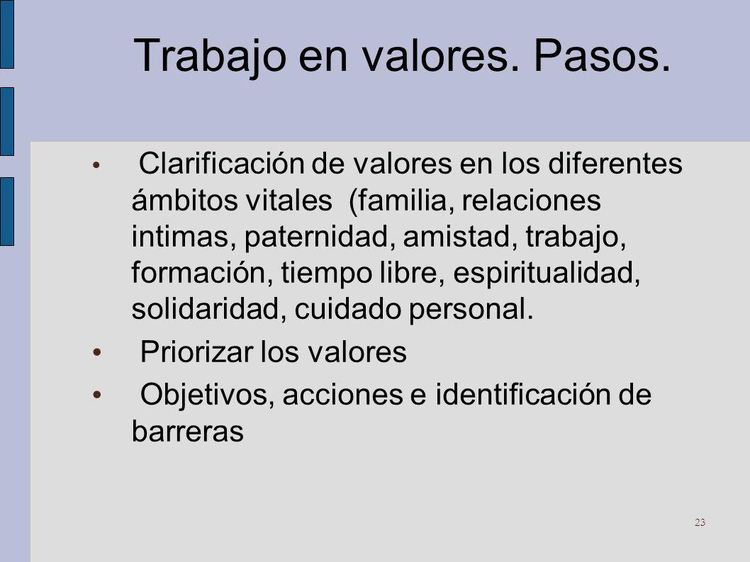 Trabajo en valores. Pasos. Clarificación de valores en los diferentes ámbitos vitales (familia, relaciones intimas, paternidad, amistad, trabajo, form