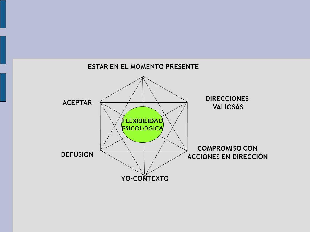 Flexibilidad psicológica Es la habilidad de contactar con el presente plenamente y conscientemente, y basado en lo que la situación permita cambiar o persistir en la conducta en servicio de los valores escogidos.