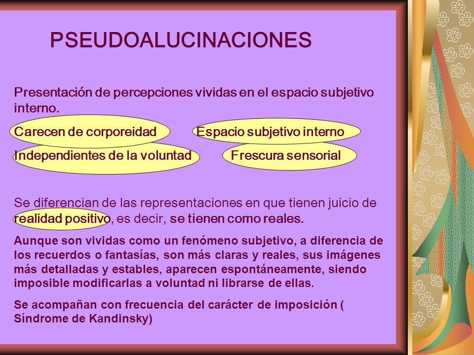PSEUDOALUCINACIONES Presentación de percepciones vividas en el espacio subjetivo interno.