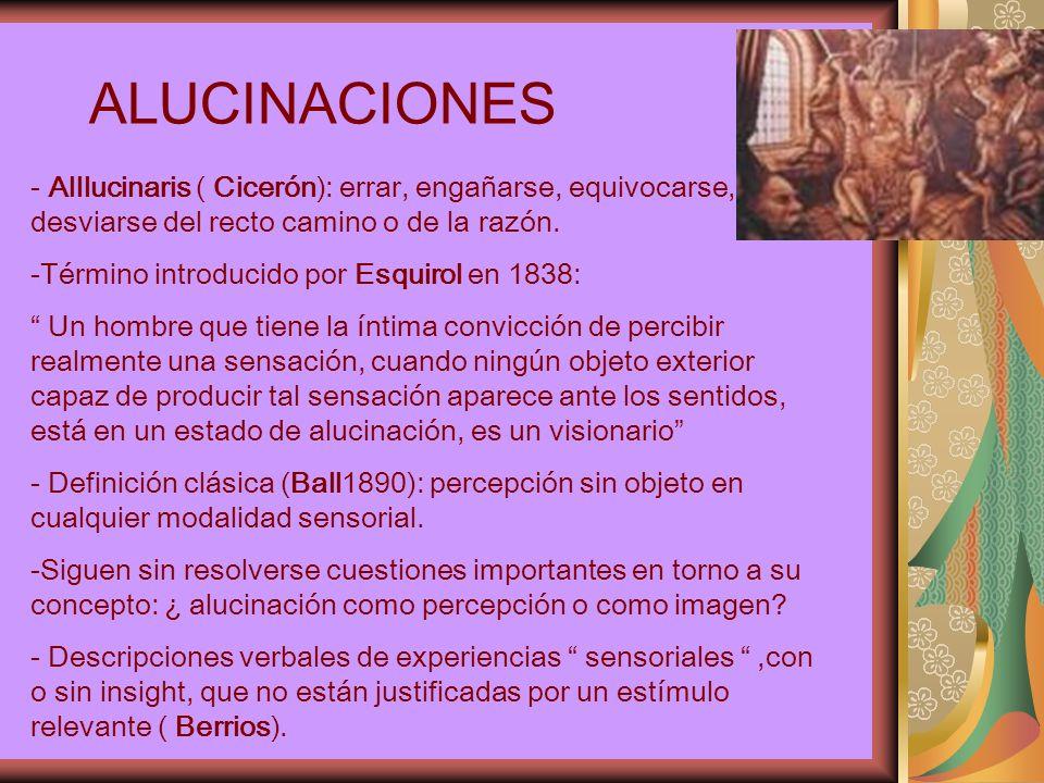 ALUCINACIONES - Alllucinaris ( Cicerón): errar, engañarse, equivocarse, desviarse del recto camino o de la razón.