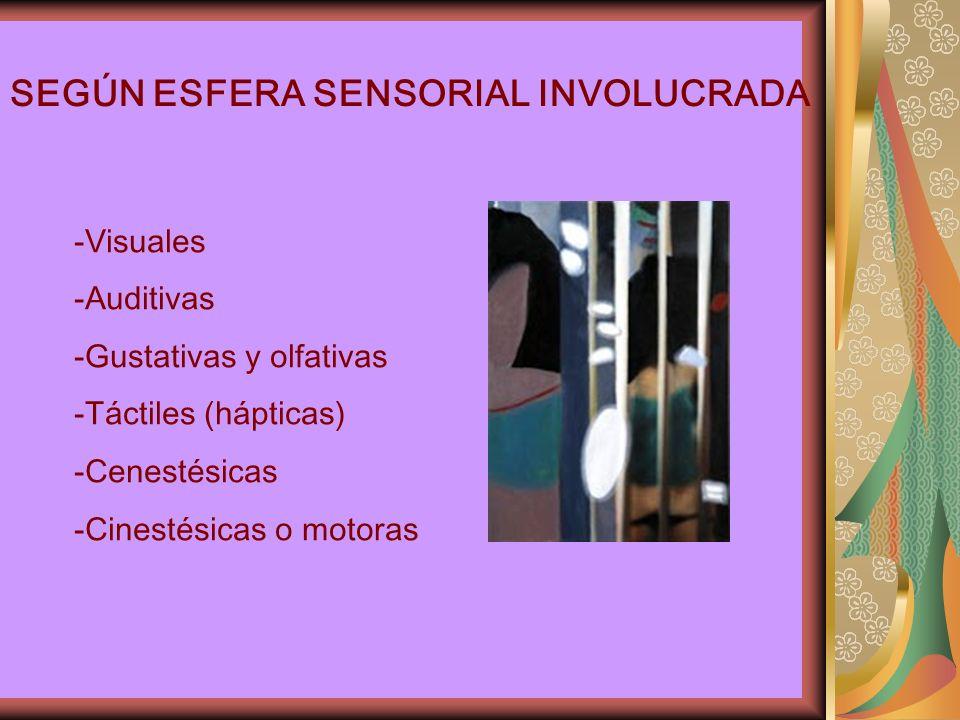 SEGÚN ESFERA SENSORIAL INVOLUCRADA -Visuales -Auditivas -Gustativas y olfativas -Táctiles (hápticas) -Cenestésicas -Cinestésicas o motoras