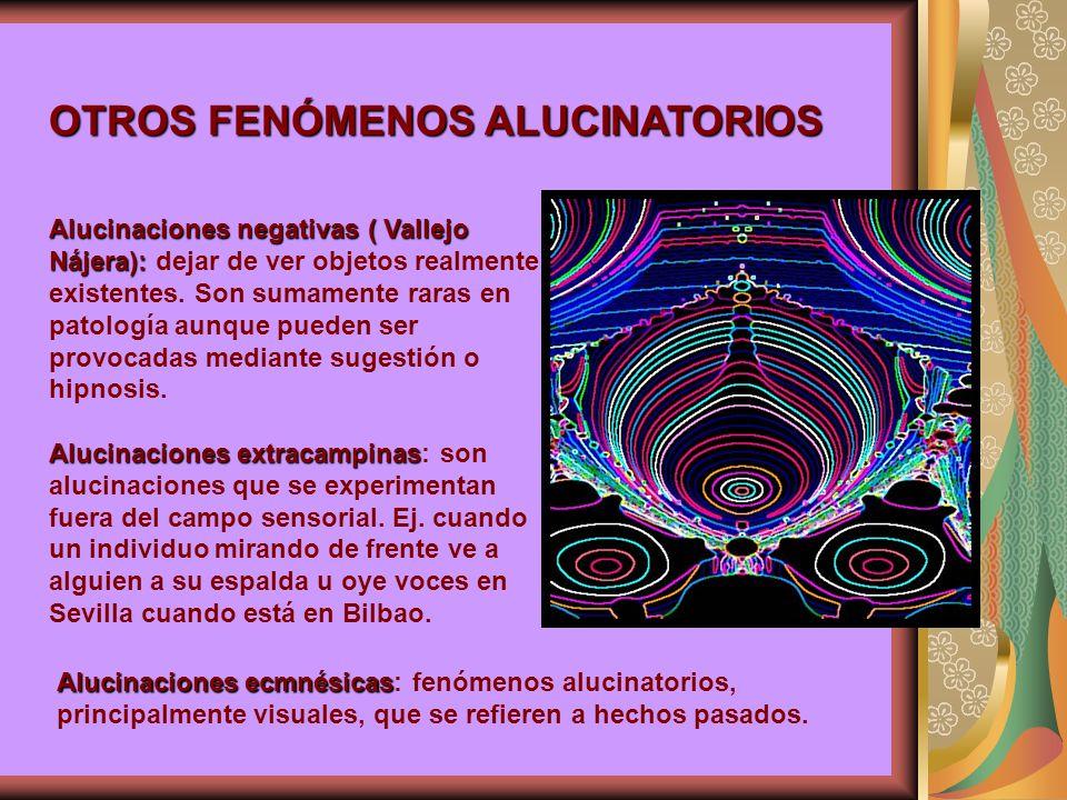 Alucinaciones negativas ( Vallejo Nájera): Alucinaciones negativas ( Vallejo Nájera): dejar de ver objetos realmente existentes.