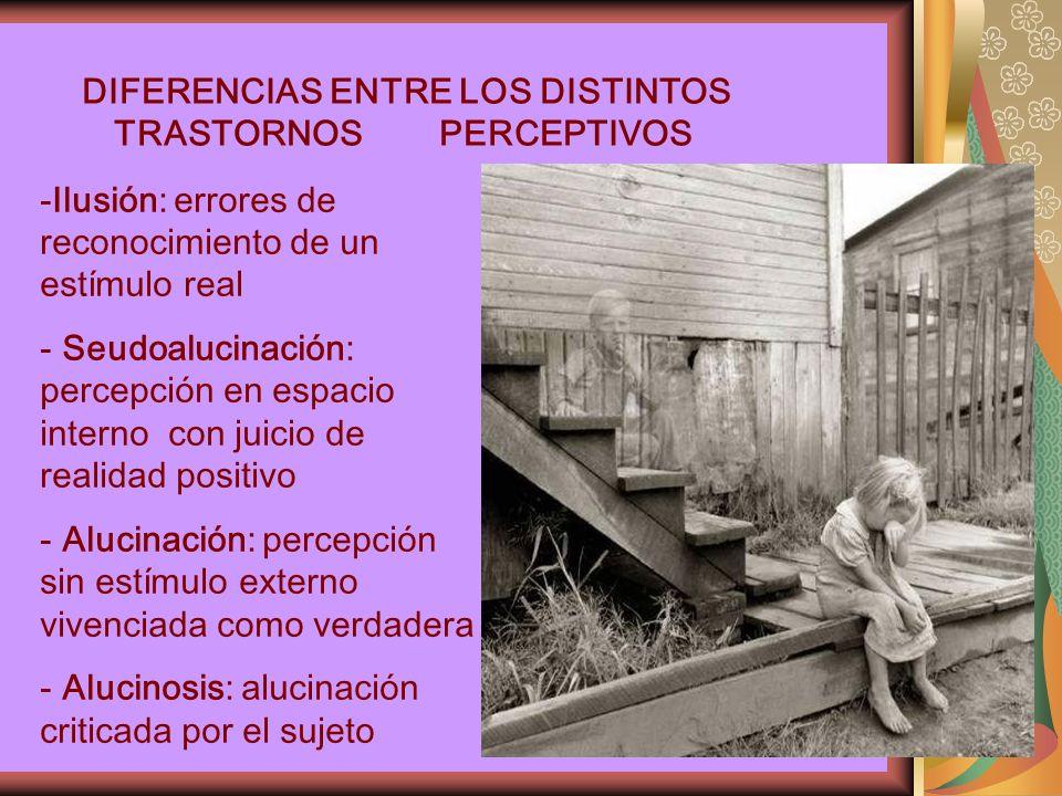 DIFERENCIAS ENTRE LOS DISTINTOS TRASTORNOS PERCEPTIVOS -Ilusión: errores de reconocimiento de un estímulo real - Seudoalucinación: percepción en espacio interno con juicio de realidad positivo - Alucinación: percepción sin estímulo externo vivenciada como verdadera - Alucinosis: alucinación criticada por el sujeto