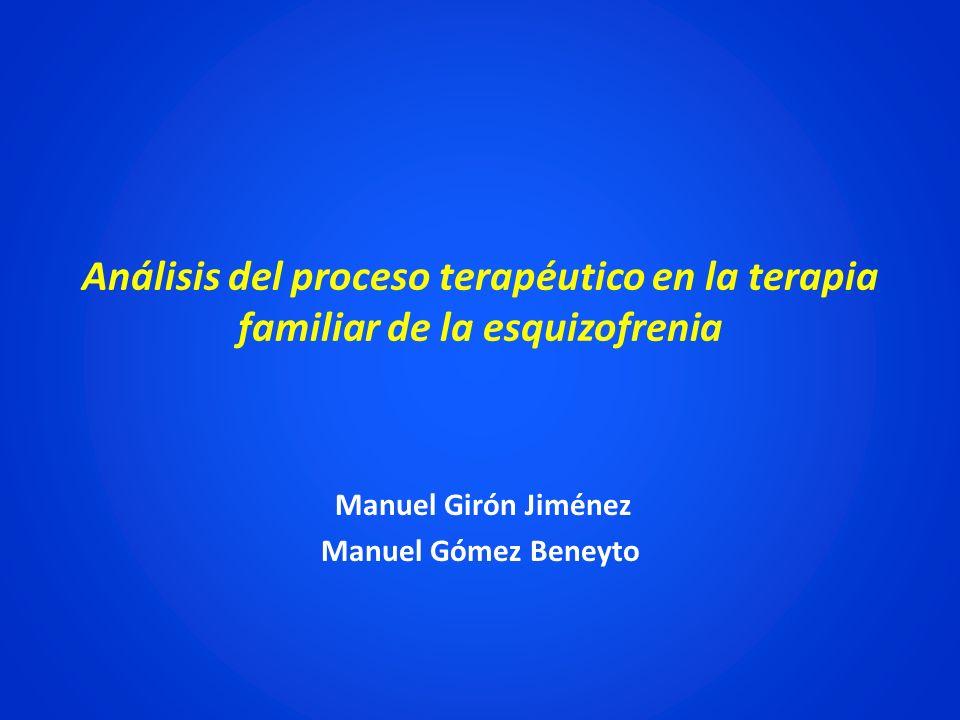 Análisis del proceso terapéutico en la terapia familiar de la esquizofrenia Manuel Girón Jiménez Manuel Gómez Beneyto