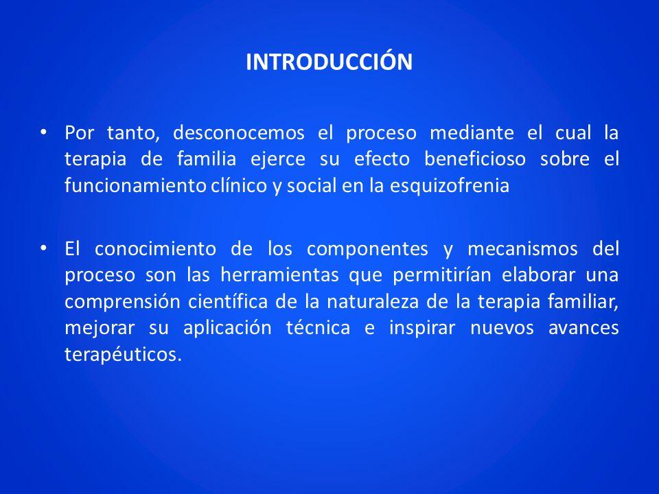 INTRODUCCIÓN Por tanto, desconocemos el proceso mediante el cual la terapia de familia ejerce su efecto beneficioso sobre el funcionamiento clínico y