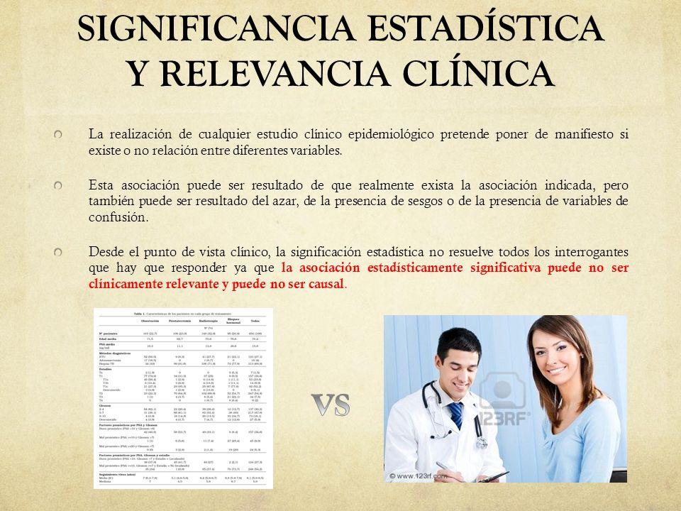 SIGNIFICANCIA ESTADÍSTICA Y RELEVANCIA CLÍNICA La realización de cualquier estudio clínico epidemiológico pretende poner de manifiesto si existe o no