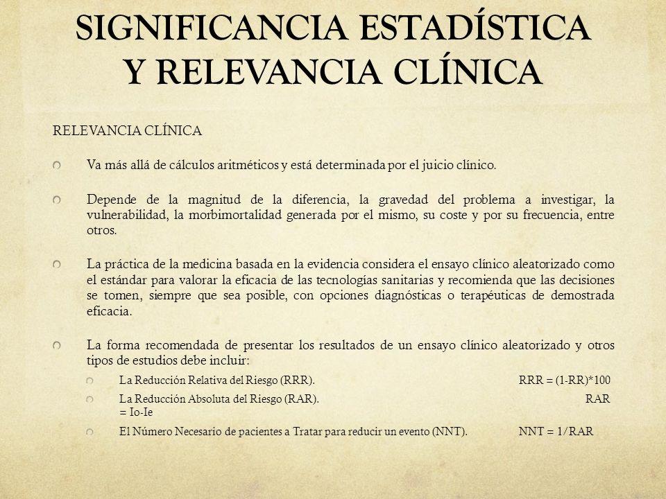 SIGNIFICANCIA ESTADÍSTICA Y RELEVANCIA CLÍNICA RELEVANCIA CLÍNICA Va más allá de cálculos aritméticos y está determinada por el juicio clínico. Depend