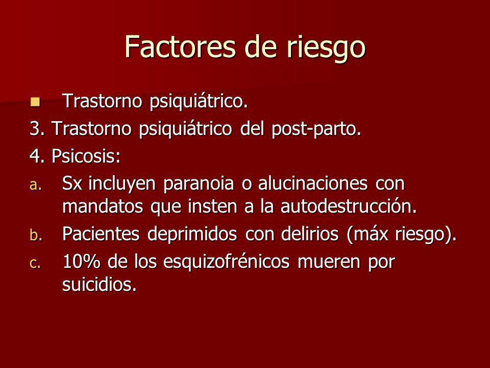 Factores de riesgo Trastorno psiquiátrico. Trastorno psiquiátrico. 3. Trastorno psiquiátrico del post-parto. 4. Psicosis: a. Sx incluyen paranoia o al