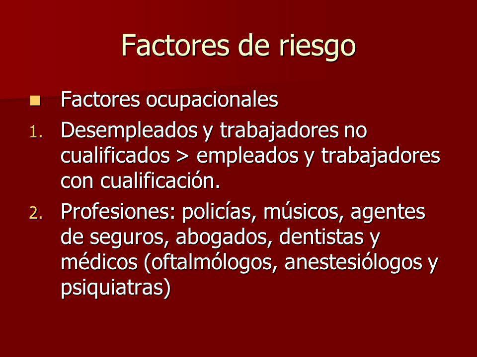 Factores de riesgo Factores ocupacionales Factores ocupacionales 1. Desempleados y trabajadores no cualificados > empleados y trabajadores con cualifi