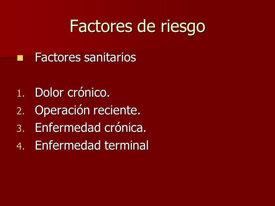 Factores de riesgo Factores sanitarios Factores sanitarios 1. Dolor crónico. 2. Operación reciente. 3. Enfermedad crónica. 4. Enfermedad terminal