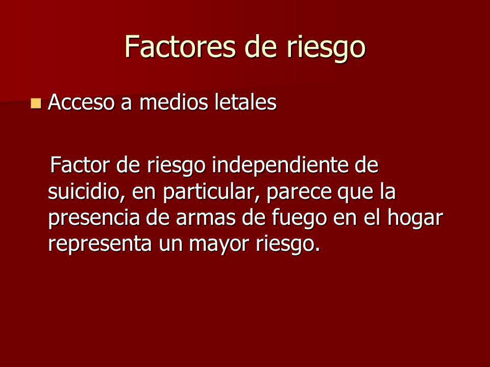 Factores de riesgo Acceso a medios letales Acceso a medios letales Factor de riesgo independiente de suicidio, en particular, parece que la presencia