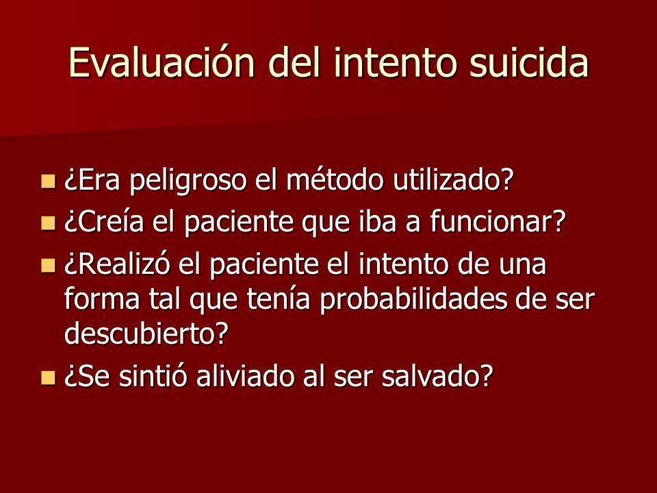 Evaluación del intento suicida ¿Era peligroso el método utilizado? ¿Era peligroso el método utilizado? ¿Creía el paciente que iba a funcionar? ¿Creía