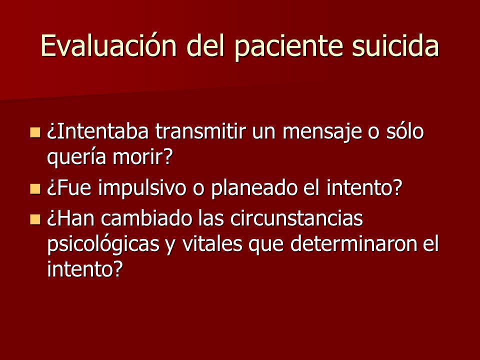 Evaluación del paciente suicida ¿Intentaba transmitir un mensaje o sólo quería morir? ¿Intentaba transmitir un mensaje o sólo quería morir? ¿Fue impul
