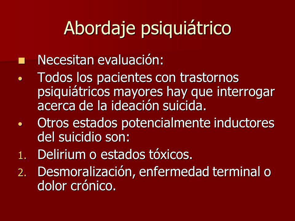 Abordaje psiquiátrico Necesitan evaluación: Necesitan evaluación: Todos los pacientes con trastornos psiquiátricos mayores hay que interrogar acerca d