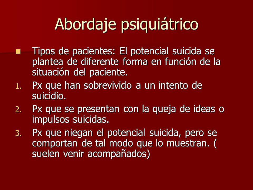 Abordaje psiquiátrico Tipos de pacientes: El potencial suicida se plantea de diferente forma en función de la situación del paciente. Tipos de pacient