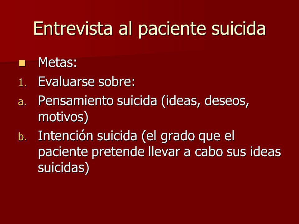 Entrevista al paciente suicida Metas: Metas: 1. Evaluarse sobre: a. Pensamiento suicida (ideas, deseos, motivos) b. Intención suicida (el grado que el