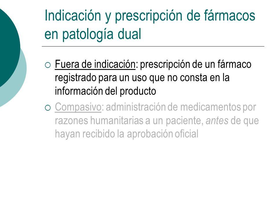 Indicación y prescripción de fármacos en patología dual Fuera de indicación: prescripción de un fármaco registrado para un uso que no consta en la inf