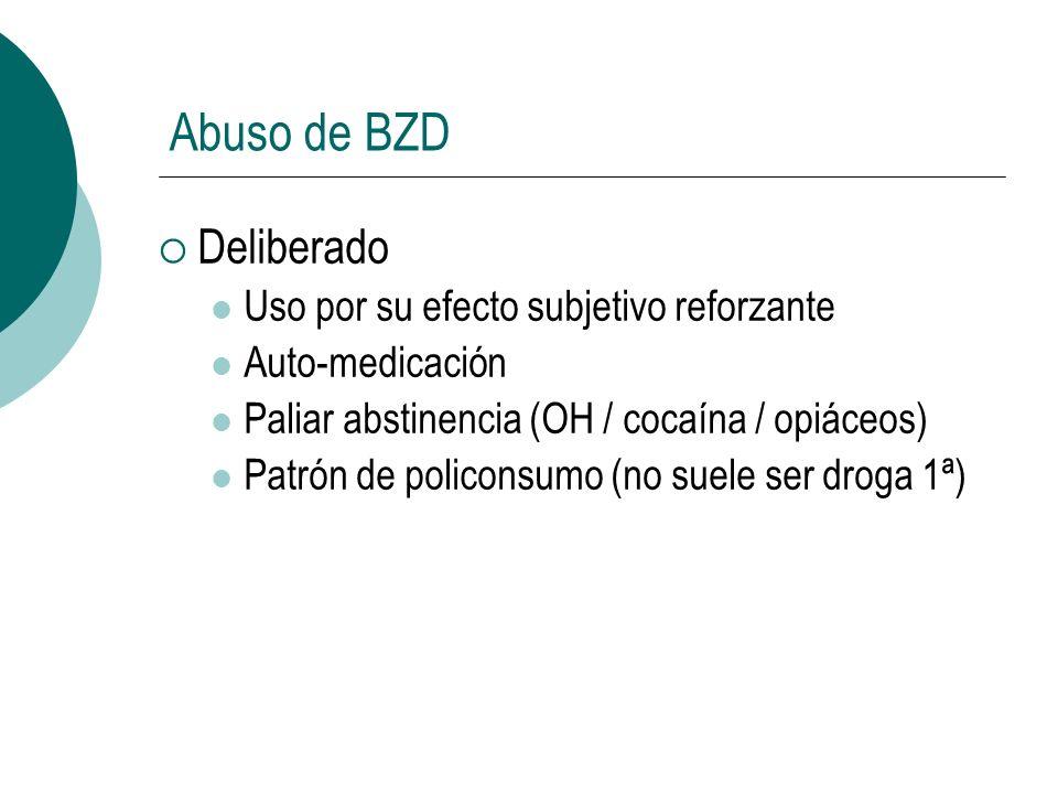 Abuso de BZD Deliberado Uso por su efecto subjetivo reforzante Auto-medicación Paliar abstinencia (OH / cocaína / opiáceos) Patrón de policonsumo (no