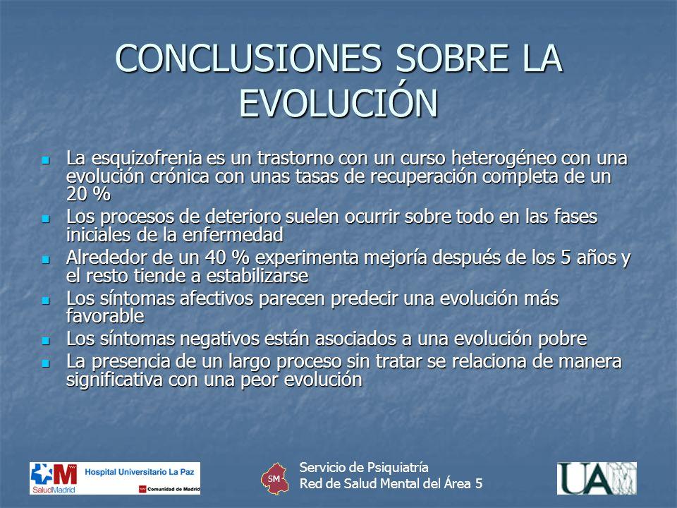 CONCLUSIONES SOBRE LA EVOLUCIÓN La esquizofrenia es un trastorno con un curso heterogéneo con una evolución crónica con unas tasas de recuperación com