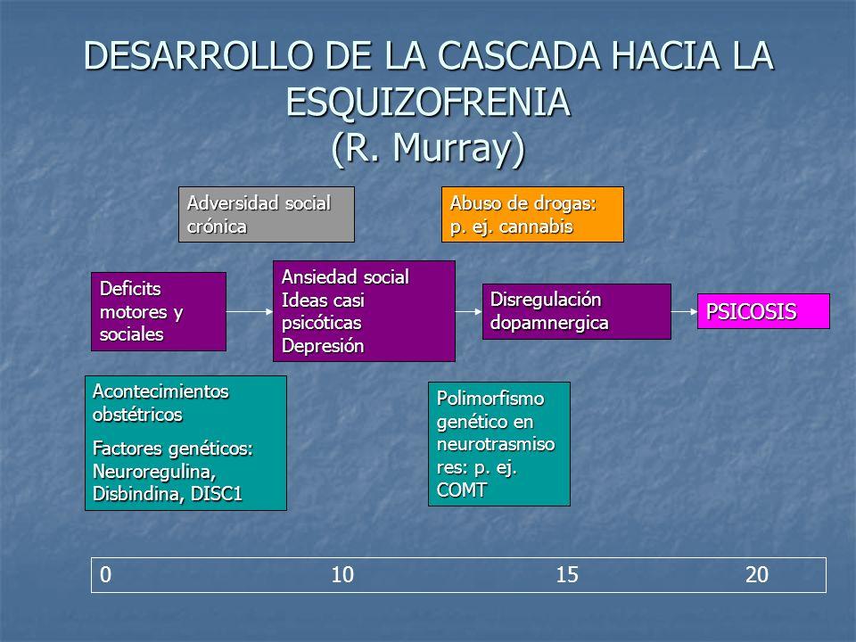 DESARROLLO DE LA CASCADA HACIA LA ESQUIZOFRENIA (R. Murray) Acontecimientos obstétricos Factores genéticos: Neuroregulina, Disbindina, DISC1 Adversida