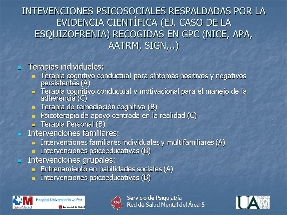 INTEVENCIONES PSICOSOCIALES RESPALDADAS POR LA EVIDENCIA CIENTÍFICA (EJ. CASO DE LA ESQUIZOFRENIA) RECOGIDAS EN GPC (NICE, APA, AATRM, SIGN,..) Terapi