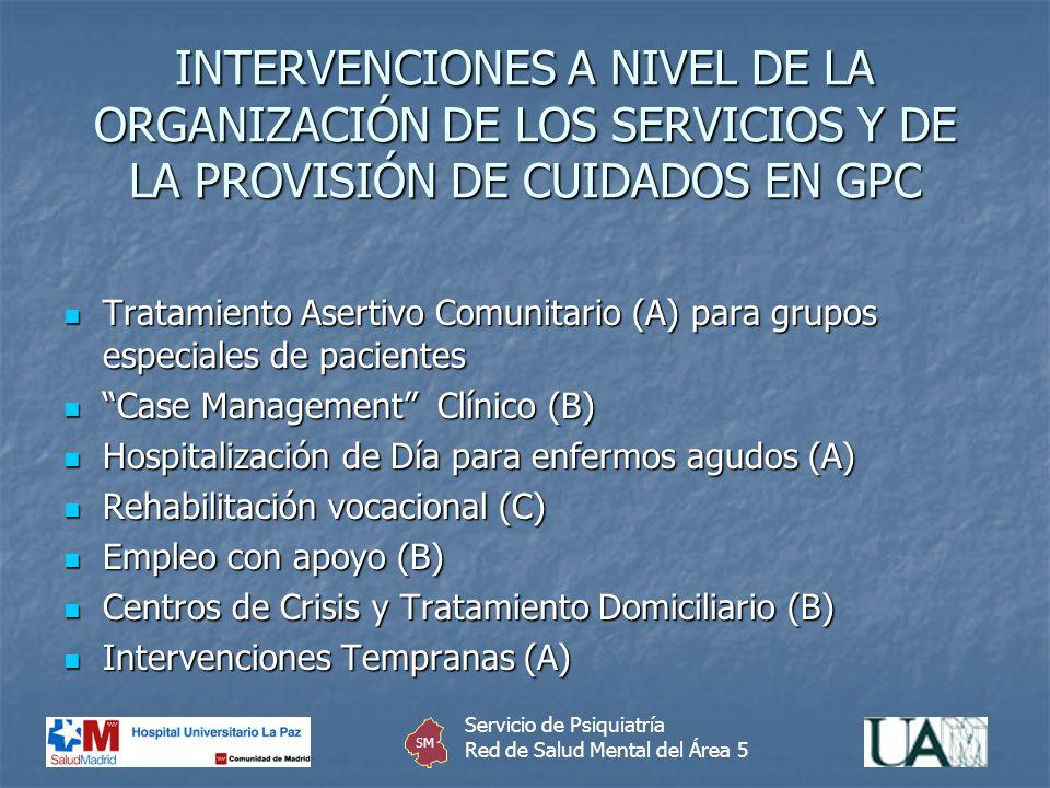 INTERVENCIONES A NIVEL DE LA ORGANIZACIÓN DE LOS SERVICIOS Y DE LA PROVISIÓN DE CUIDADOS EN GPC Tratamiento Asertivo Comunitario (A) para grupos espec