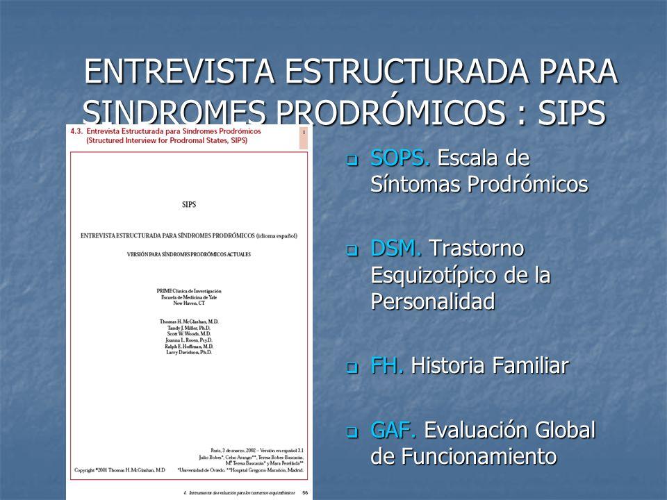 ENTREVISTA ESTRUCTURADA PARA SINDROMES PRODRÓMICOS : SIPS ENTREVISTA ESTRUCTURADA PARA SINDROMES PRODRÓMICOS : SIPS SOPS. Escala de Síntomas Prodrómic