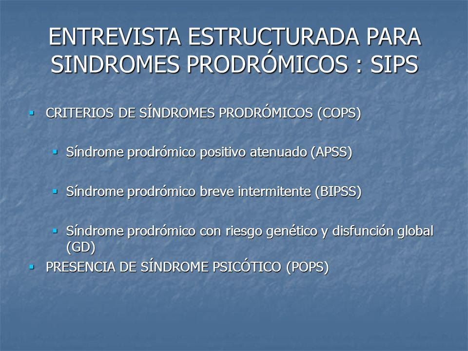 CRITERIOS DE SÍNDROMES PRODRÓMICOS (COPS) CRITERIOS DE SÍNDROMES PRODRÓMICOS (COPS) Síndrome prodrómico positivo atenuado (APSS) Síndrome prodrómico p
