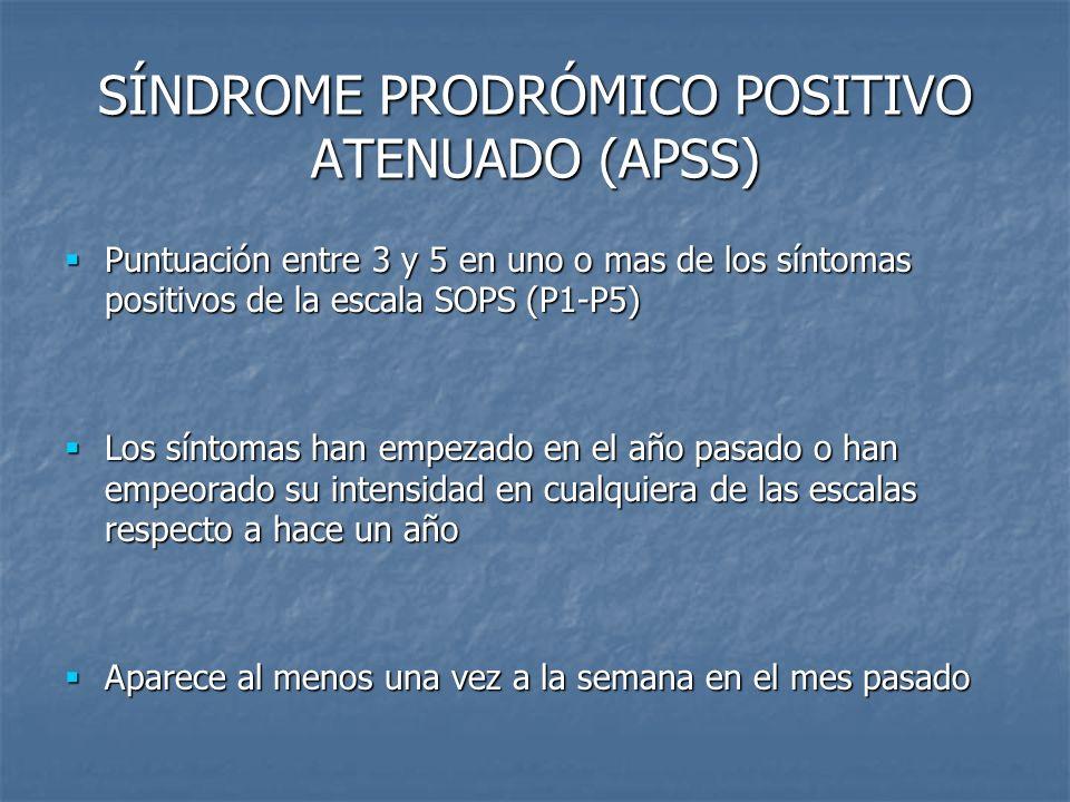 SÍNDROME PRODRÓMICO POSITIVO ATENUADO (APSS) Puntuación entre 3 y 5 en uno o mas de los síntomas positivos de la escala SOPS (P1-P5) Puntuación entre