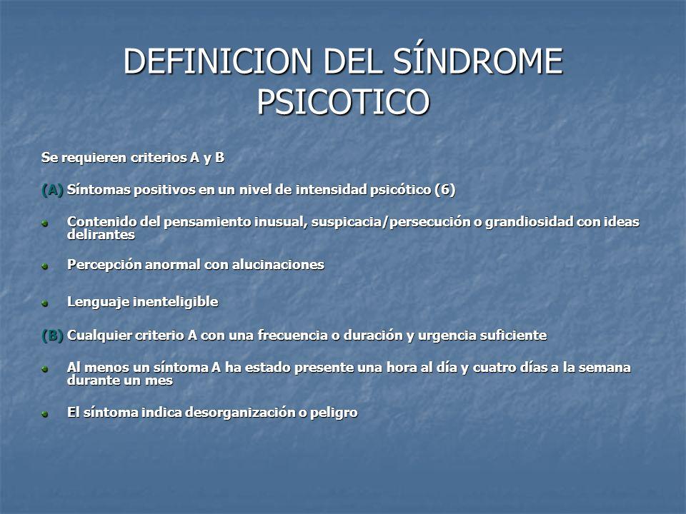 DEFINICION DEL SÍNDROME PSICOTICO Se requieren criterios A y B (A)Síntomas positivos en un nivel de intensidad psicótico (6) Contenido del pensamiento
