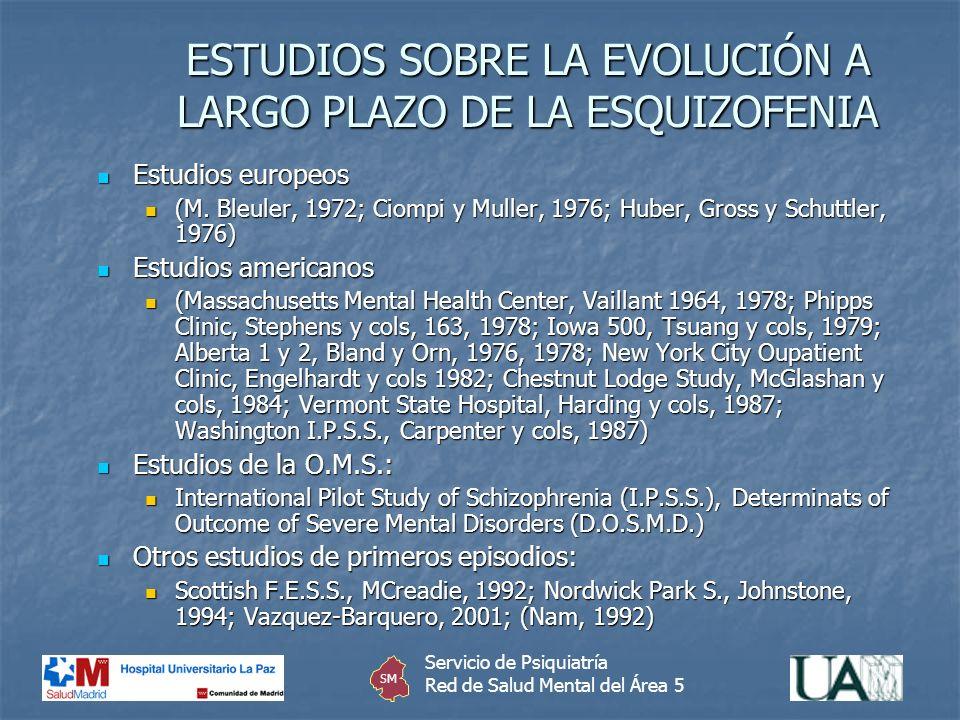 ESTUDIOS SOBRE LA EVOLUCIÓN A LARGO PLAZO DE LA ESQUIZOFENIA Estudios europeos Estudios europeos (M. Bleuler, 1972; Ciompi y Muller, 1976; Huber, Gros