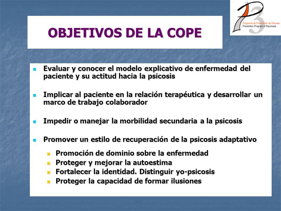 OBJETIVOS DE LA COPE Evaluar y conocer el modelo explicativo de enfermedad del paciente y su actitud hacia la psicosis Evaluar y conocer el modelo exp