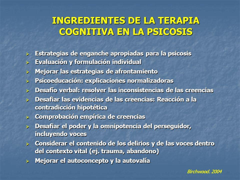 INGREDIENTES DE LA TERAPIA COGNITIVA EN LA PSICOSIS Estrategias de enganche apropiadas para la psicosis Estrategias de enganche apropiadas para la psi