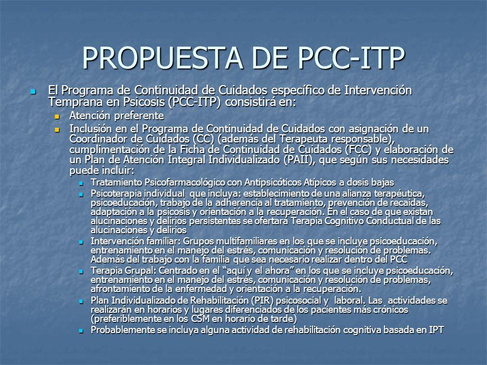 PROPUESTA DE PCC-ITP El Programa de Continuidad de Cuidados específico de Intervención Temprana en Psicosis (PCC-ITP) consistirá en: El Programa de Co
