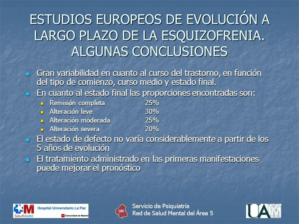 ESTUDIOS EUROPEOS DE EVOLUCIÓN A LARGO PLAZO DE LA ESQUIZOFRENIA. ALGUNAS CONCLUSIONES Gran variabilidad en cuanto al curso del trastorno, en función
