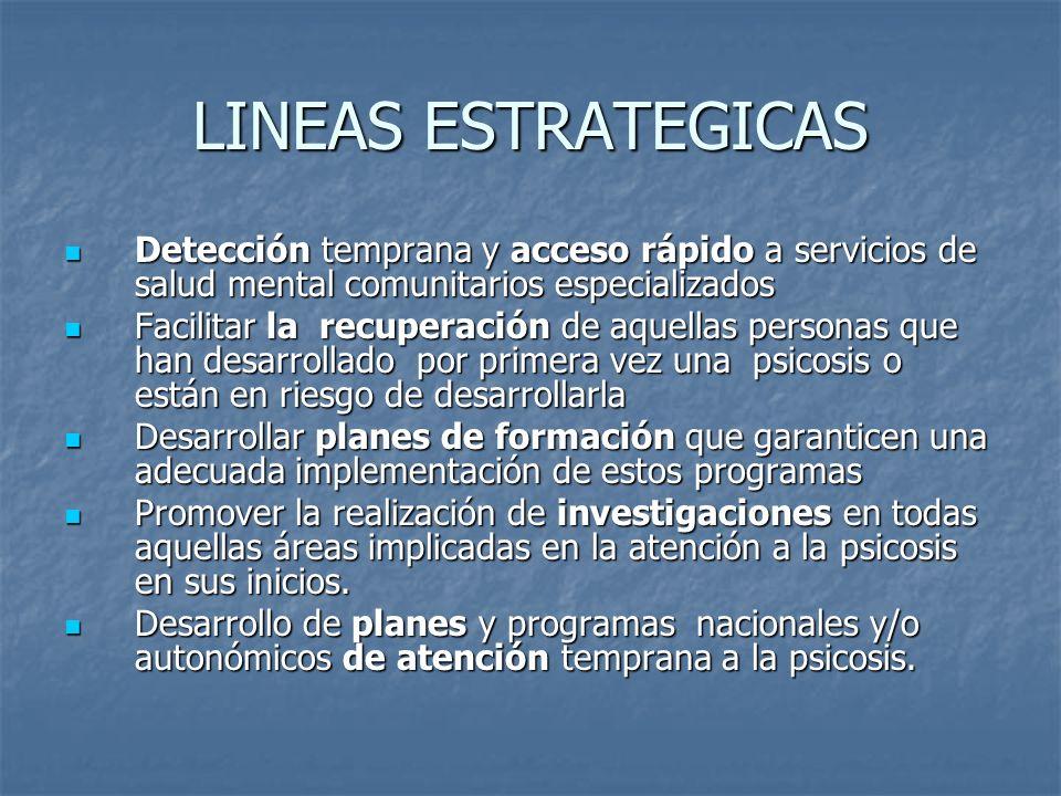 LINEAS ESTRATEGICAS Detección temprana y acceso rápido a servicios de salud mental comunitarios especializados Detección temprana y acceso rápido a se