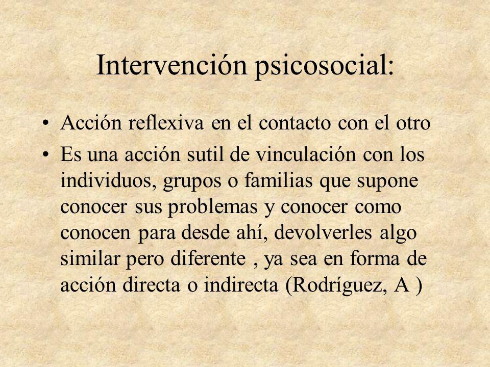 Intervención Psicosocial Supuestos: Interdependencia de factores individuales y determinantes estructurales Objeto del Trabajo Social: el malestar psi