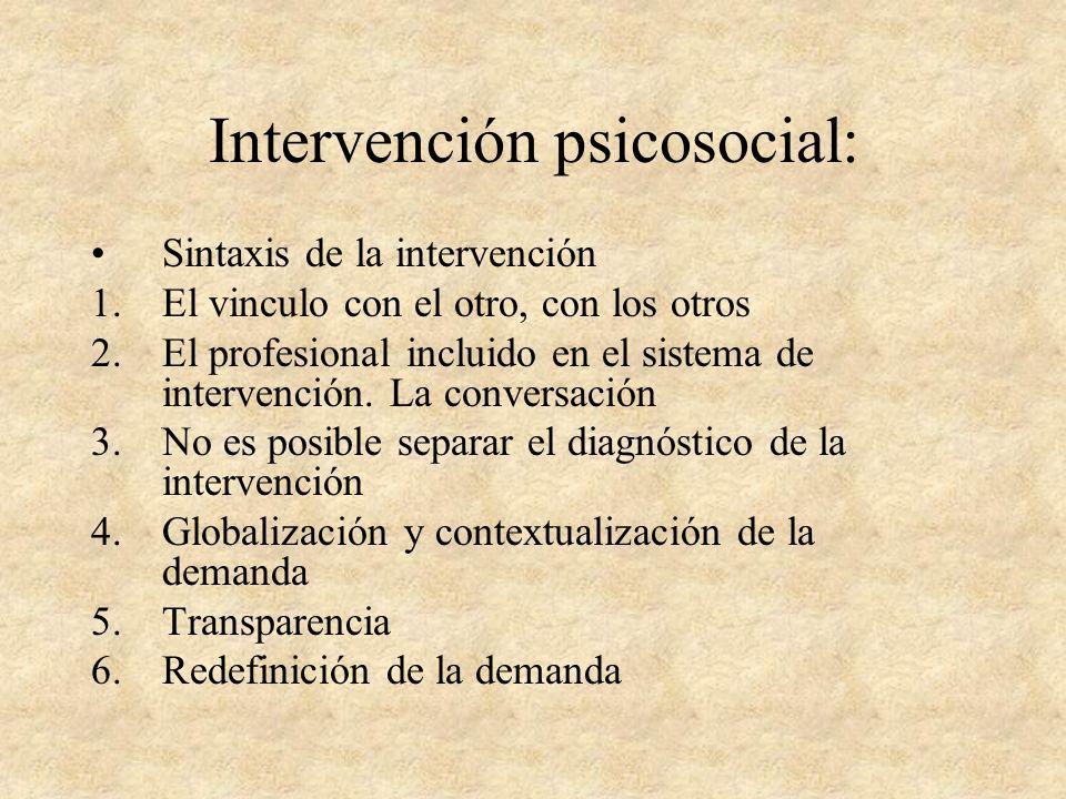 Intervención psicosocial: SINTAXIS: el conjunto de las normas explicitas e implícitas que presiden la supuesta organización en una estructura unitaria