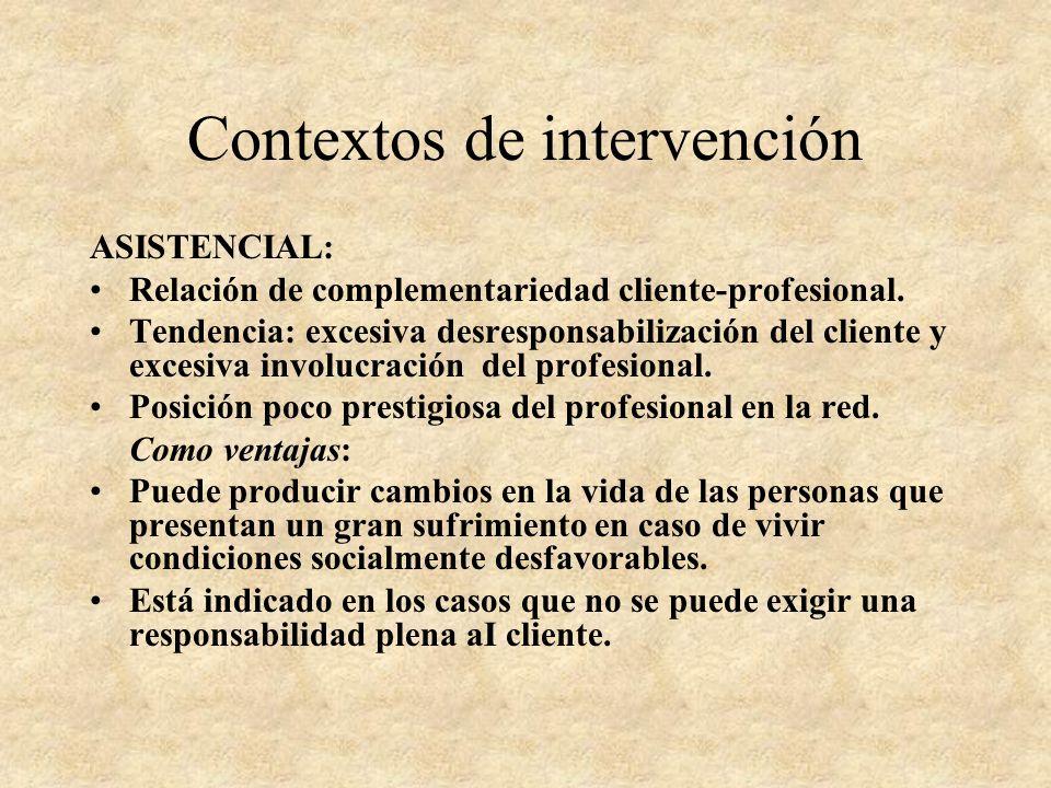 Contextos de intervención CONSULTA: Primera opción al iniciarse una relación con el cliente. Relación con el experto. Importancia del no hacer. EVALUA