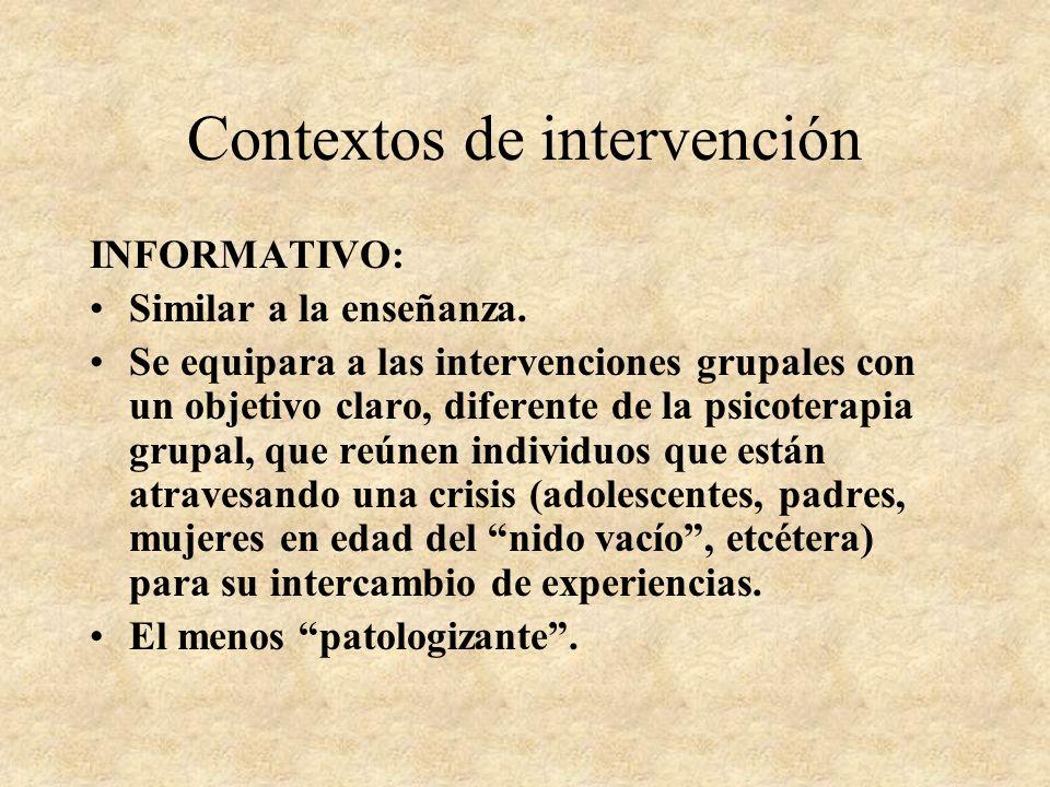 Contextos de intervención ASISTENCIAL: Relación de complementariedad cliente-profesional. Tendencia: excesiva desresponsabilización del cliente y exce