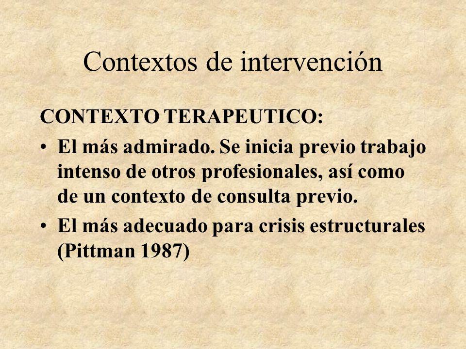 Contextos de intervención CONTROL: Se asemeja a un juicio Todos le temen, profesional y cliente Suponen la declaración del cliente como culpable de un