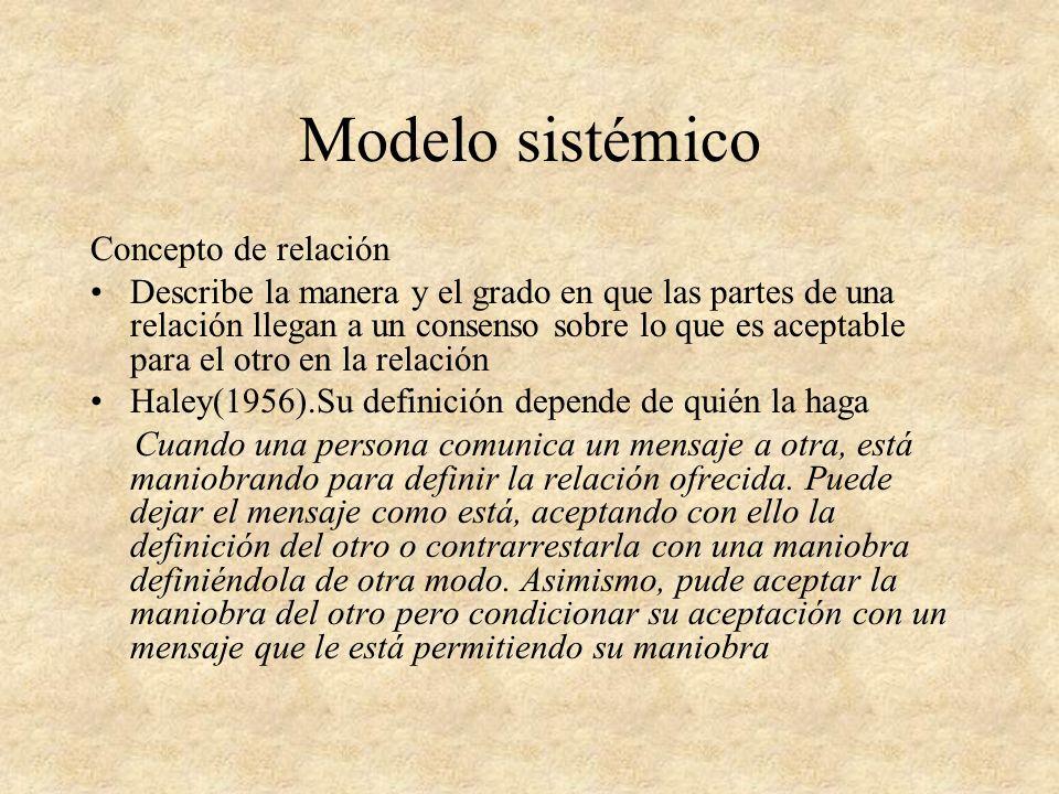 Modelo sistémico Concepto de relación Propiedades de los sistemas humanos: 1.Totalidad 2. No sumatividad 3. No existen relaciones unilaterales 4. Circ