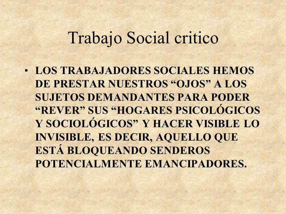 Trabajo Social critico LAS SALAS DE DESARROLLO DE LA ACTIVIDAD, EL DESPACHO...PUEDEN CONSTITUIRSE EN UN LUGAR PARA EL SILENCIO Y EL SECRETO, Y ESTOS S