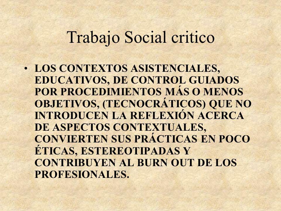 Trabajo Social critico LOS TRABAJADORES SOCIALES HEMOS DE PRESTAR NUESTROS OJOS A LOS SUJETOS DEMANDANTES PARA PODER REVER SUS HOGARES PSICOLÓGICOS Y