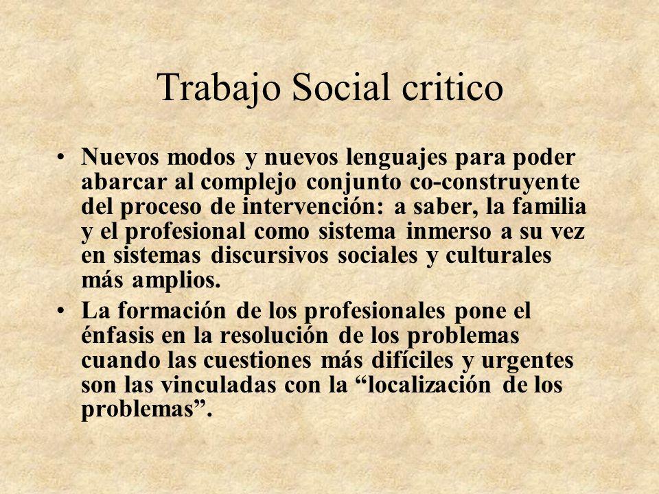 Trabajo Social critico LOS CONTEXTOS ASISTENCIALES, EDUCATIVOS, DE CONTROL GUIADOS POR PROCEDIMIENTOS MÁS O MENOS OBJETIVOS, (TECNOCRÁTICOS) QUE NO IN