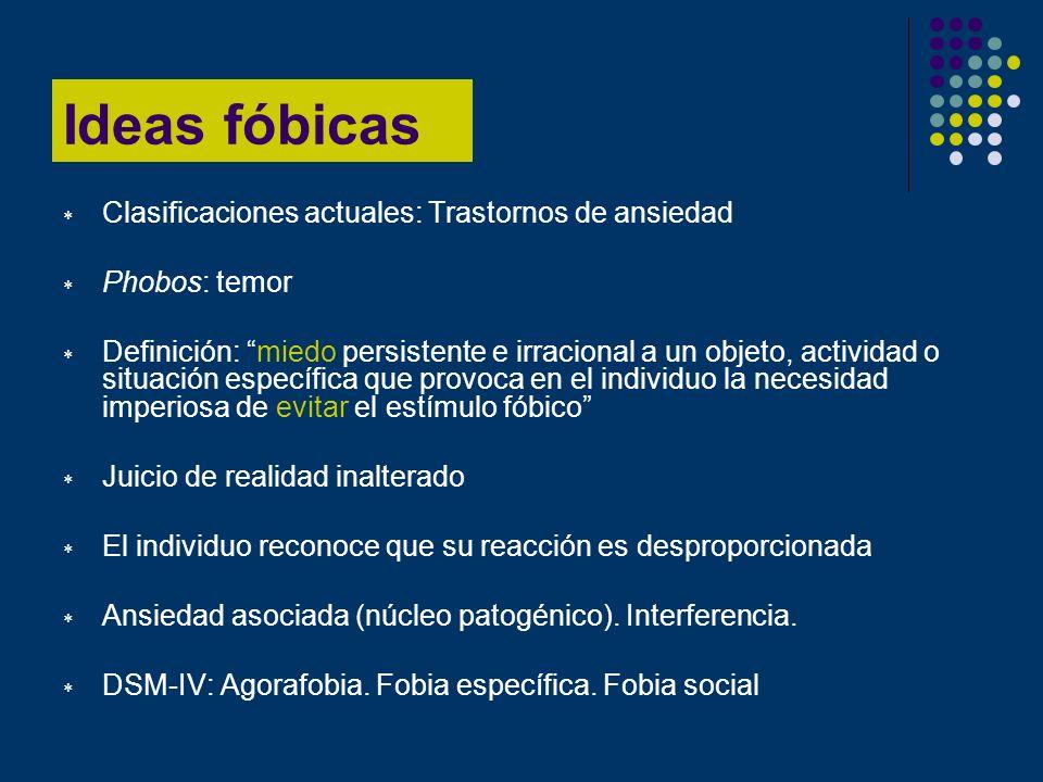 Ideas fóbicas Clasificaciones actuales: Trastornos de ansiedad Phobos: temor Definición: miedo persistente e irracional a un objeto, actividad o situa