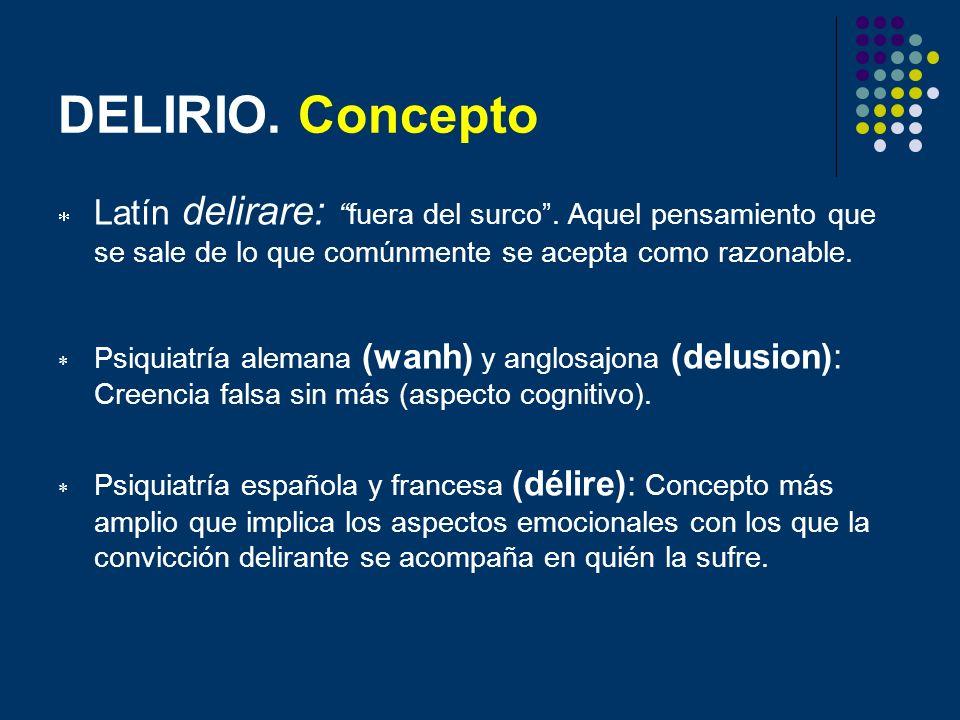 DELIRIO. Concepto Latín delirare:fuera del surco. Aquel pensamiento que se sale de lo que comúnmente se acepta como razonable. Psiquiatría alemana (wa