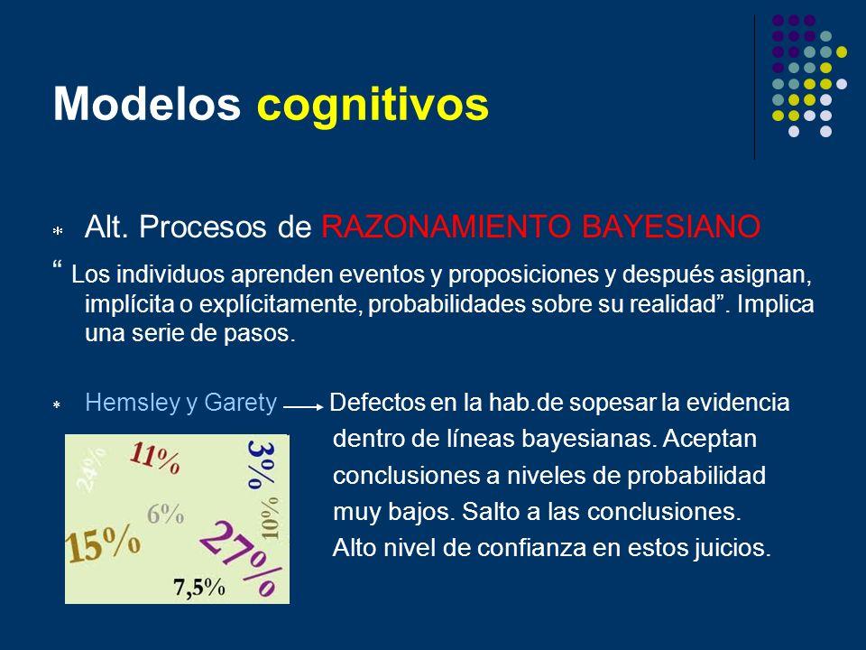 Modelos cognitivos Alt. Procesos de RAZONAMIENTO BAYESIANO Los individuos aprenden eventos y proposiciones y después asignan, implícita o explícitamen