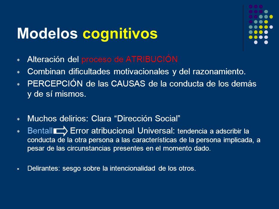 Modelos cognitivos Alteración del proceso de ATRIBUCIÓN Combinan dificultades motivacionales y del razonamiento. PERCEPCIÓN de las CAUSAS de la conduc
